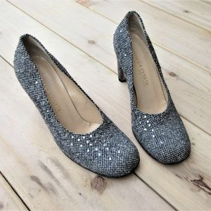 BOTTEGA VENETA 7 B wool tweed crystal pumps